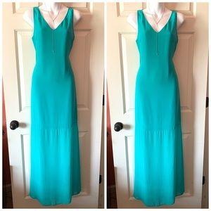 Gianni Bini Turquoise Maxi Sheer Bottom Dress